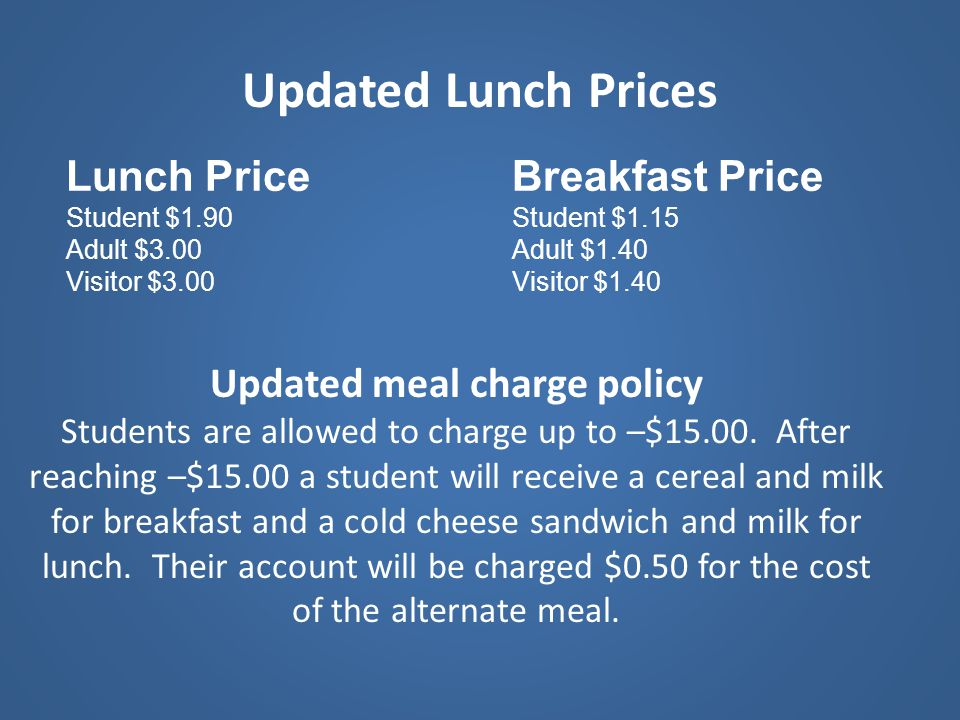 Updated meal charge policy