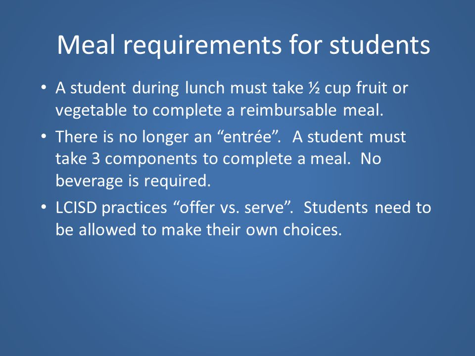 Meal requirements for students