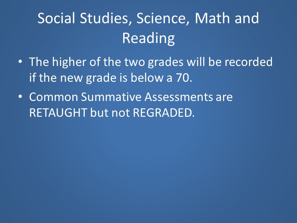 Social Studies, Science, Math and Reading