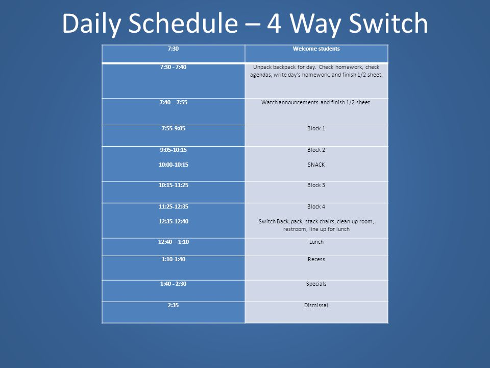 Daily Schedule – 4 Way Switch
