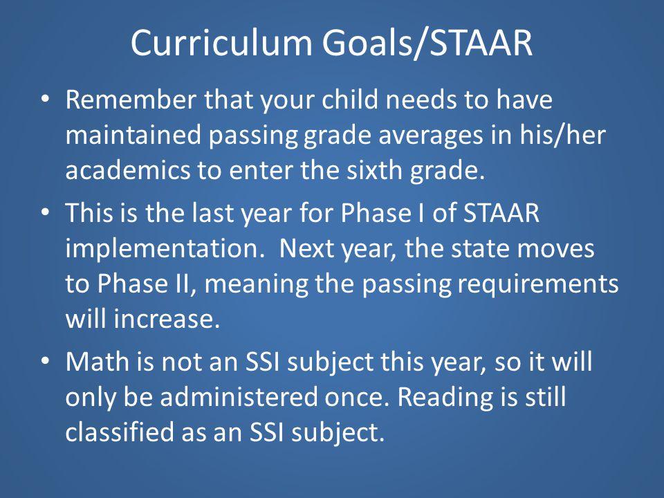 Curriculum Goals/STAAR