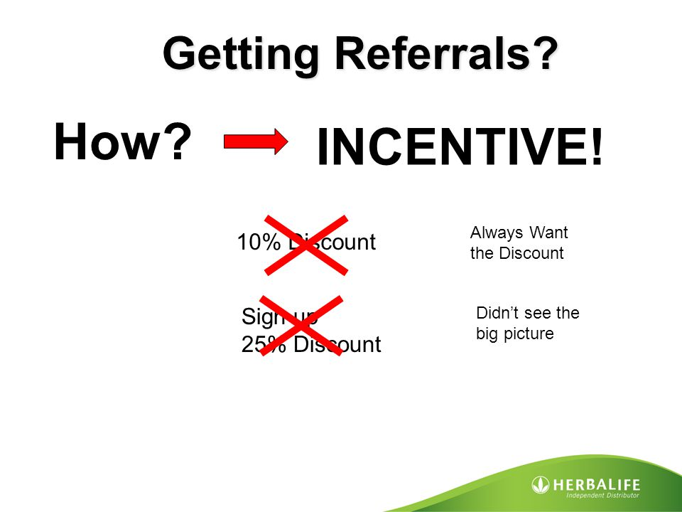 How INCENTIVE! Getting Referrals 10% Discount Sign up 25% Discount