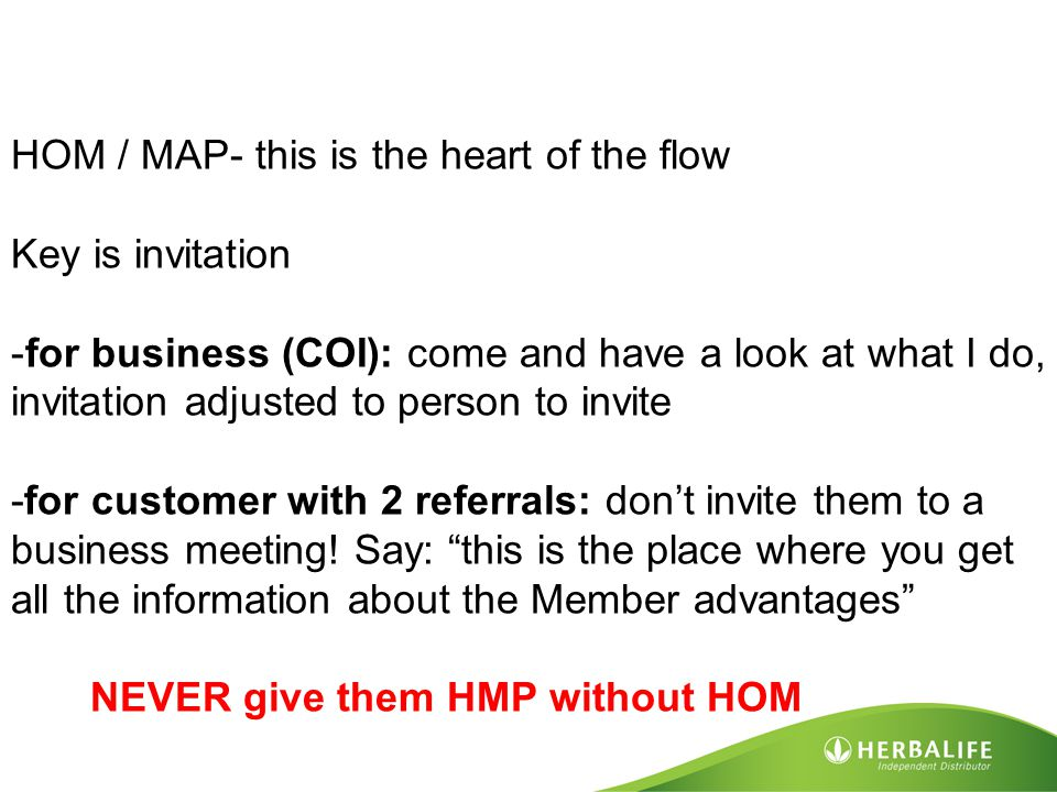 HOM / MAP- this is the heart of the flow