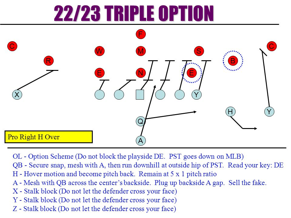 22/23 TRIPLE OPTION F C C W M S R B E N E X Y H Y Q Pro Right H Over A