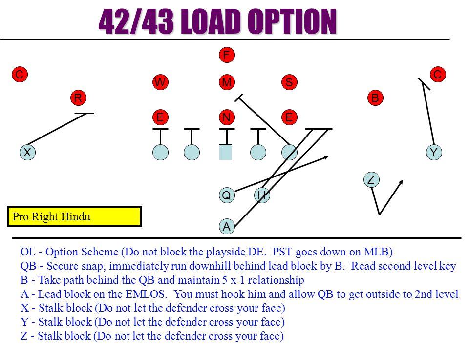 42/43 LOAD OPTION F C C W M S R B E N E X Y Z Q H Pro Right Hindu A