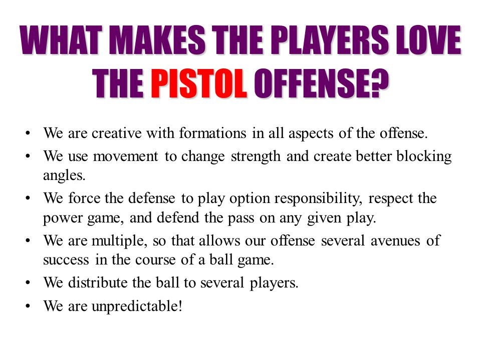 WHAT MAKES THE PLAYERS LOVE THE PISTOL OFFENSE