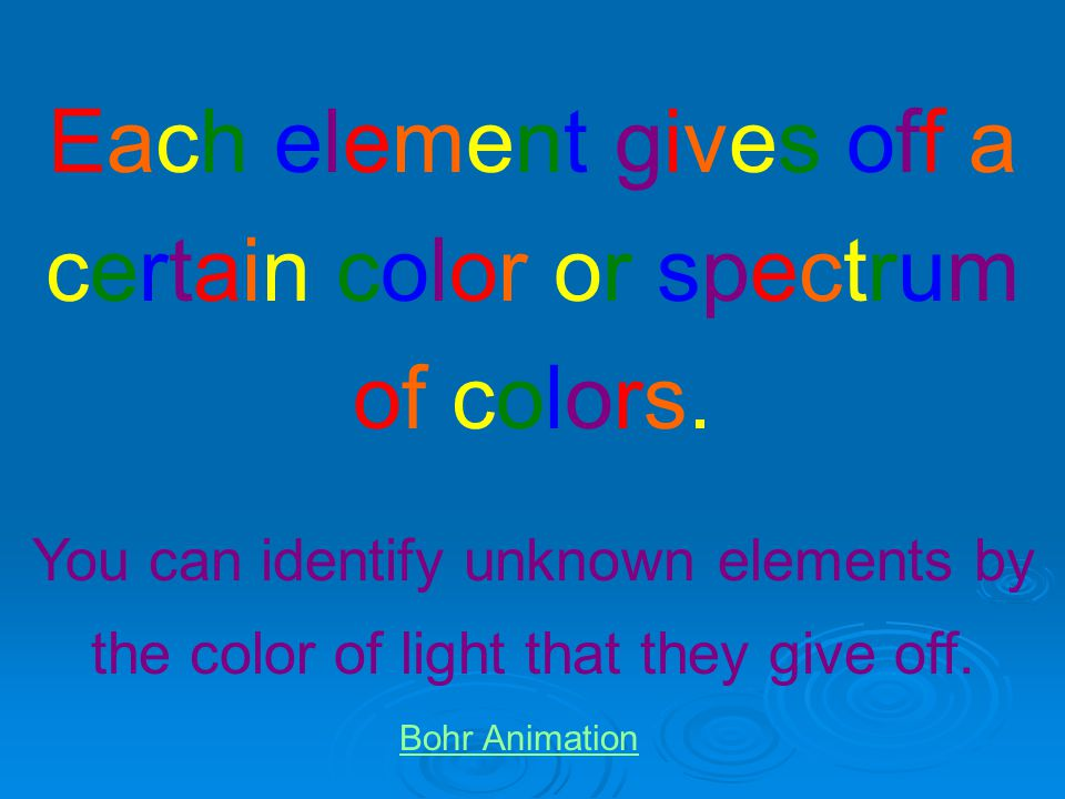 Each element gives off a certain color or spectrum of colors.