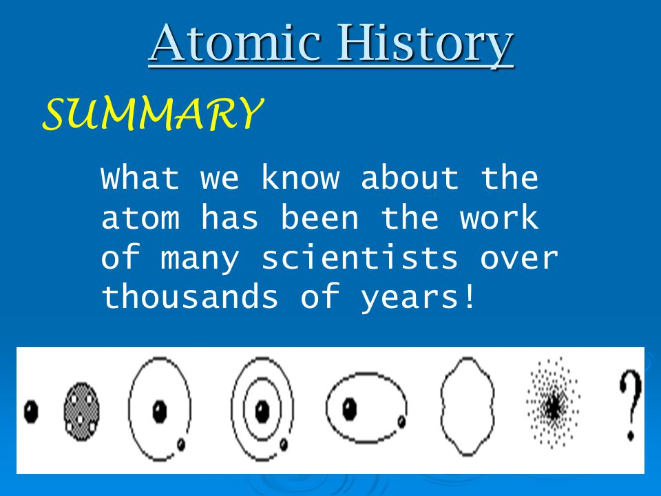 Atomic History SUMMARY