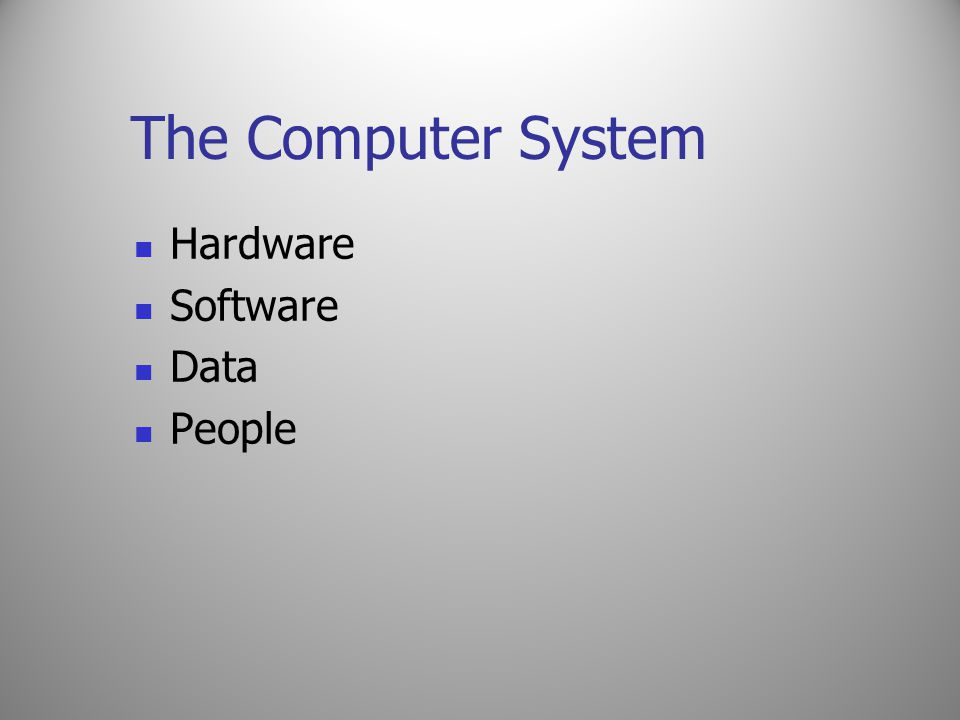 The Computer System Hardware Software Data People