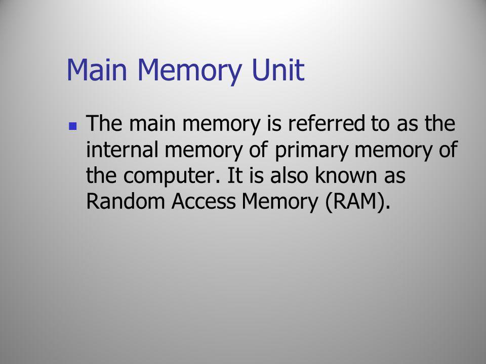 Main Memory Unit
