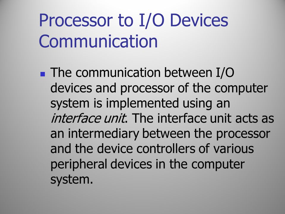 Processor to I/O Devices Communication