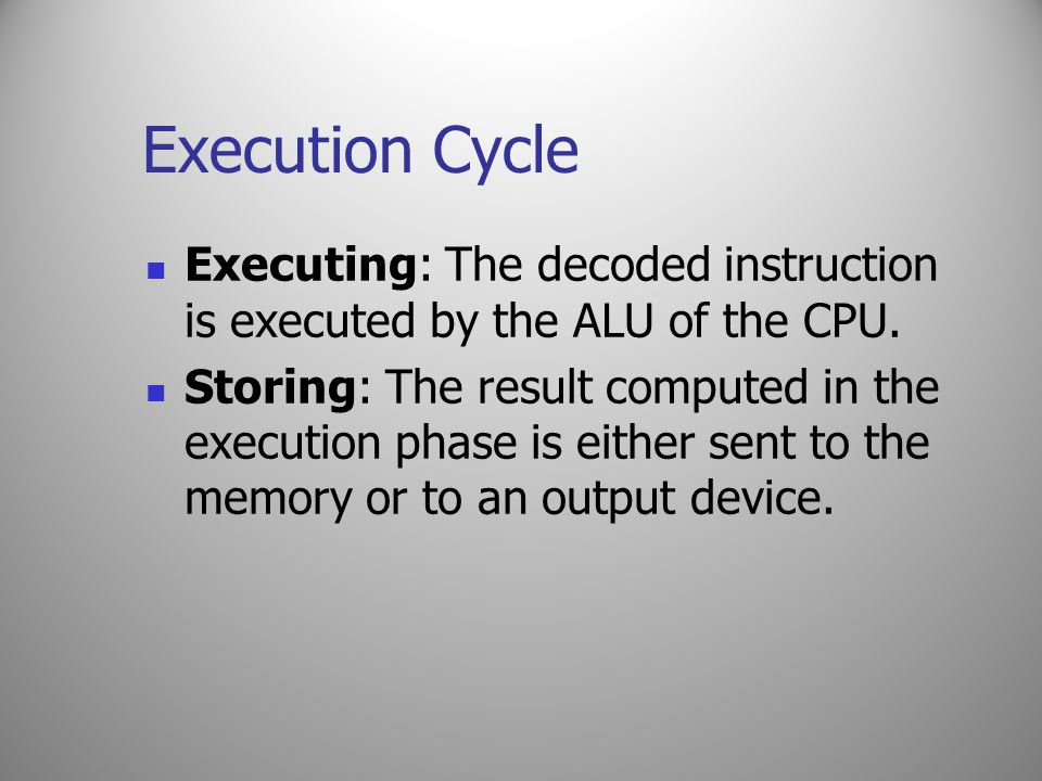 Execution Cycle Executing: The decoded instruction is executed by the ALU of the CPU.