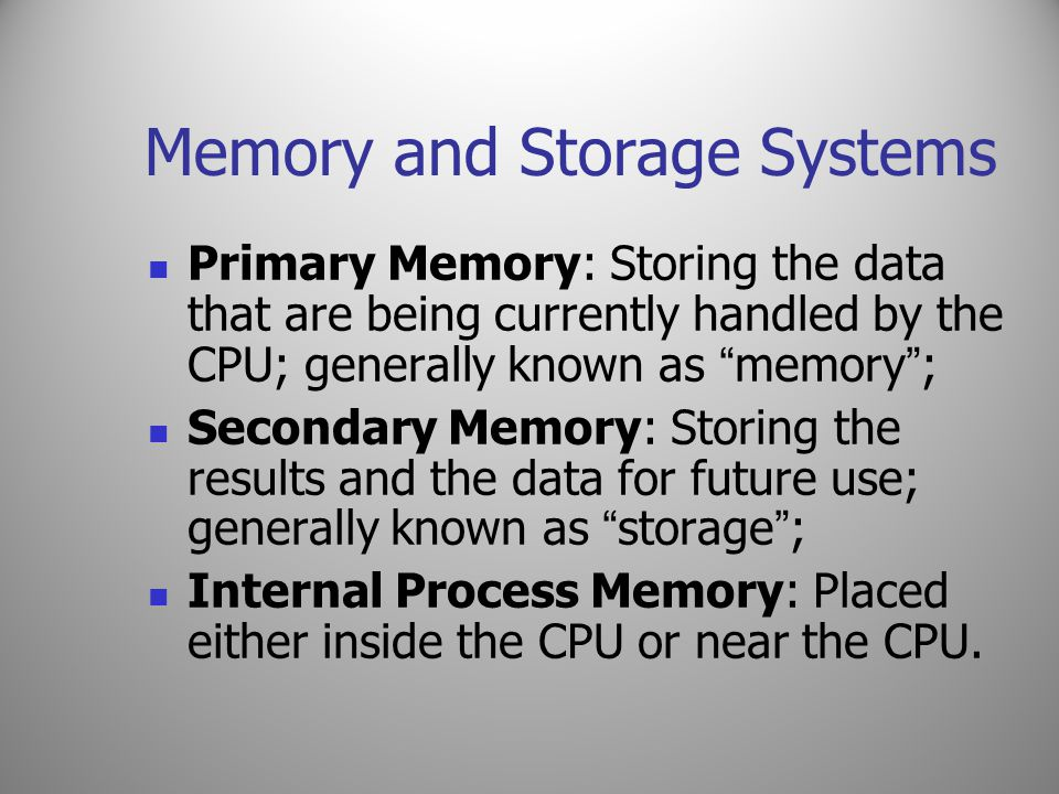 Memory and Storage Systems