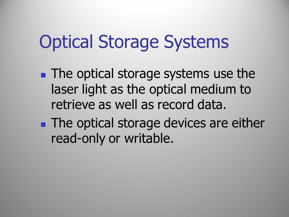 Optical Storage Systems