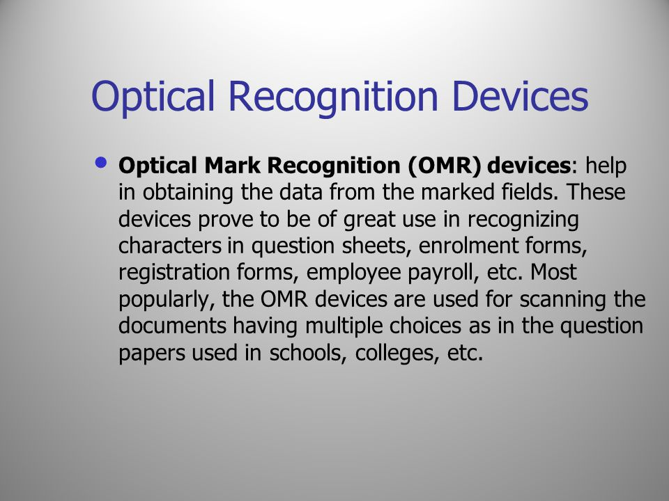 Optical Recognition Devices