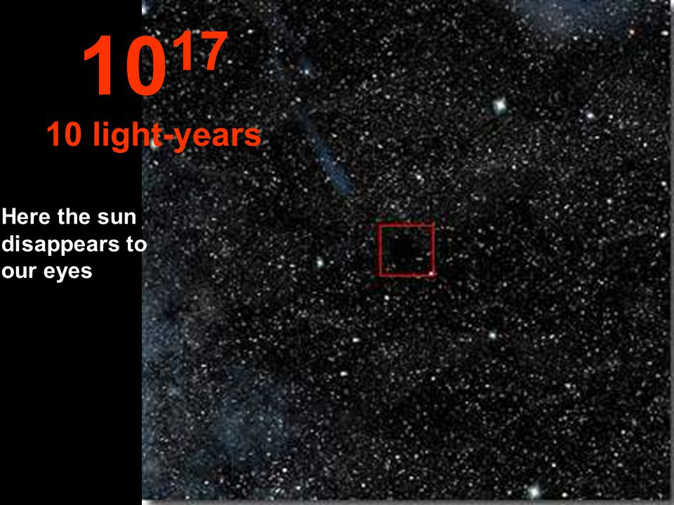 1017 10 light-years Here the sun disappears to our eyes