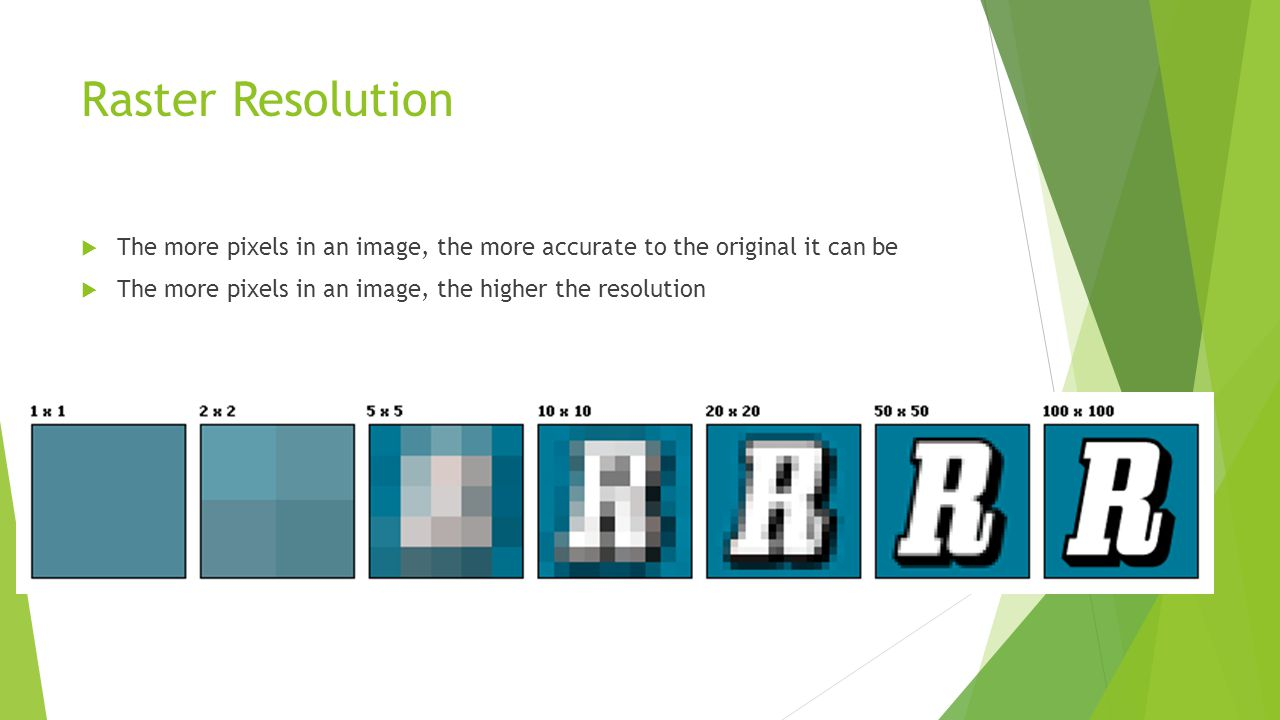 Raster Resolution The more pixels in an image, the more accurate to the original it can be.