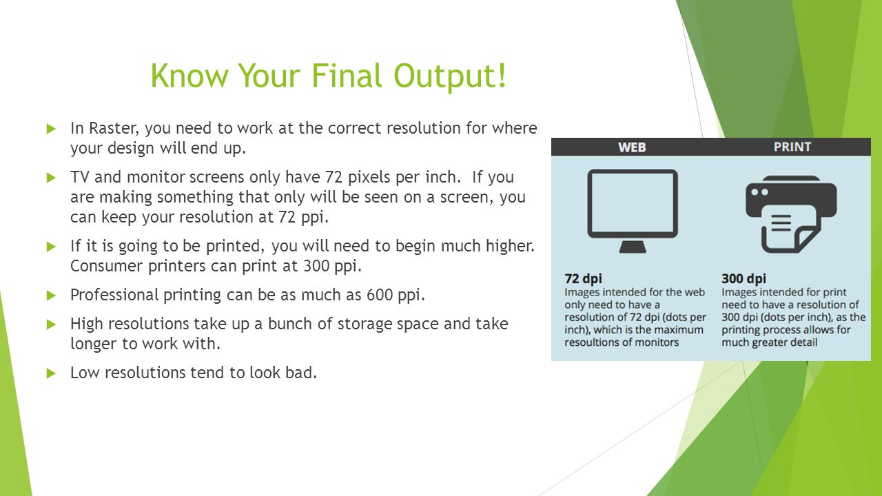 Know Your Final Output! In Raster, you need to work at the correct resolution for where your design will end up.