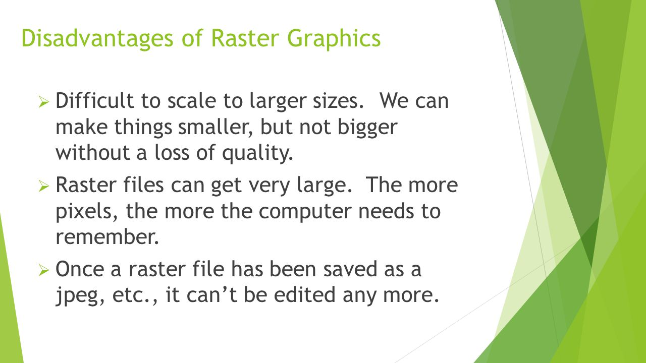 Disadvantages of Raster Graphics