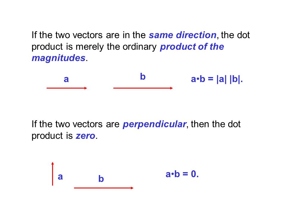 If the two vectors are in the same direction, the dot product is merely the ordinary product of the magnitudes.