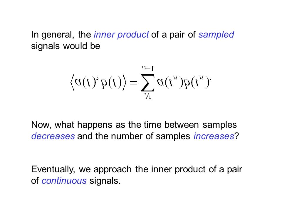 In general, the inner product of a pair of sampled signals would be