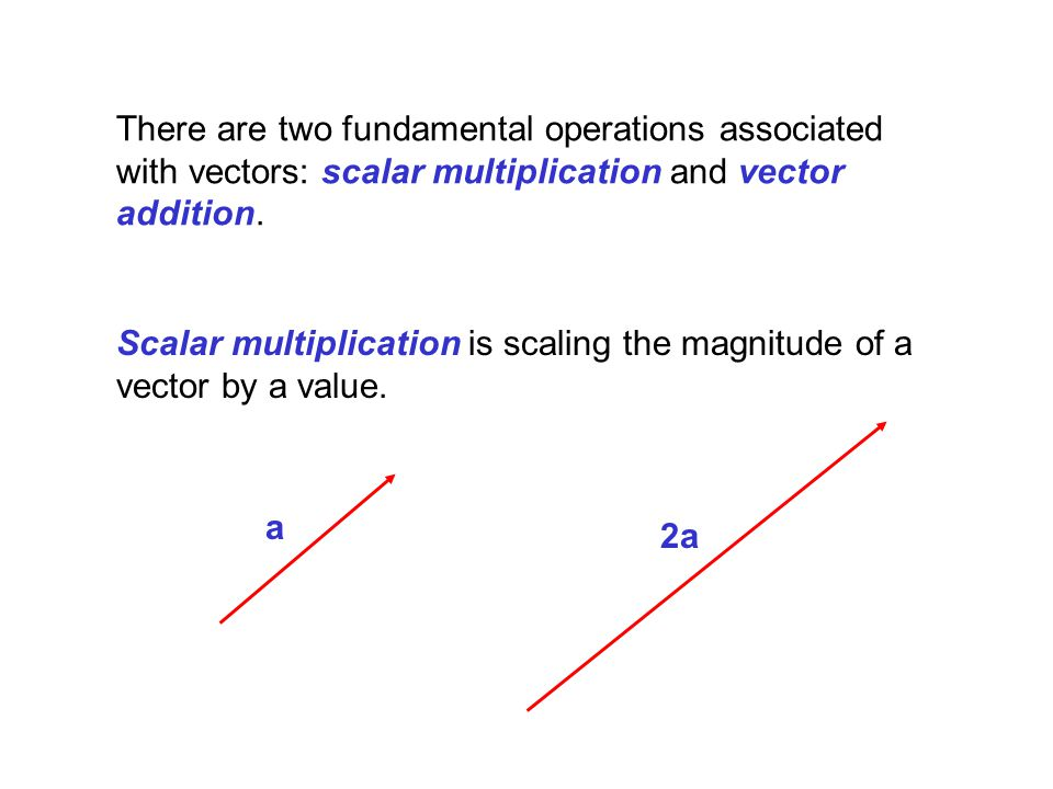 There are two fundamental operations associated with vectors: scalar multiplication and vector addition.