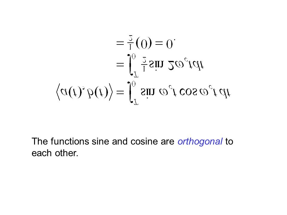 The functions sine and cosine are orthogonal to each other.