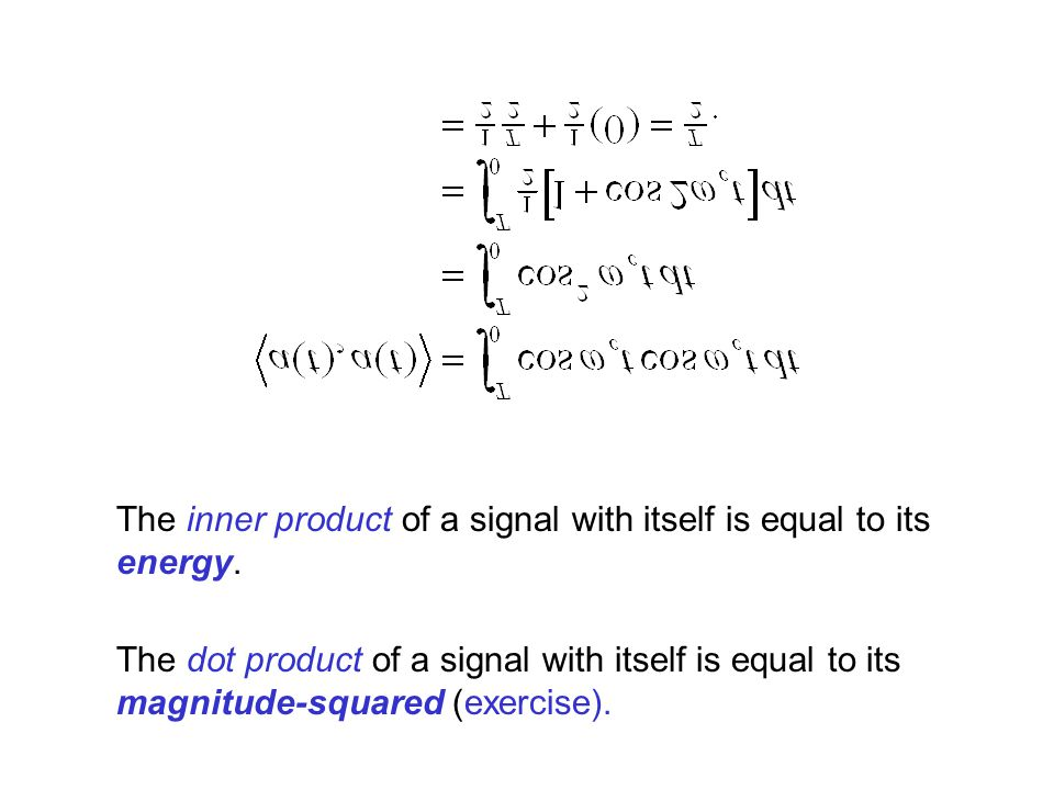 The inner product of a signal with itself is equal to its energy.