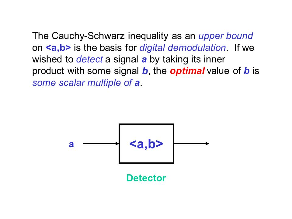 The Cauchy-Schwarz inequality as an upper bound on <a,b> is the basis for digital demodulation. If we wished to detect a signal a by taking its inner product with some signal b, the optimal value of b is some scalar multiple of a.