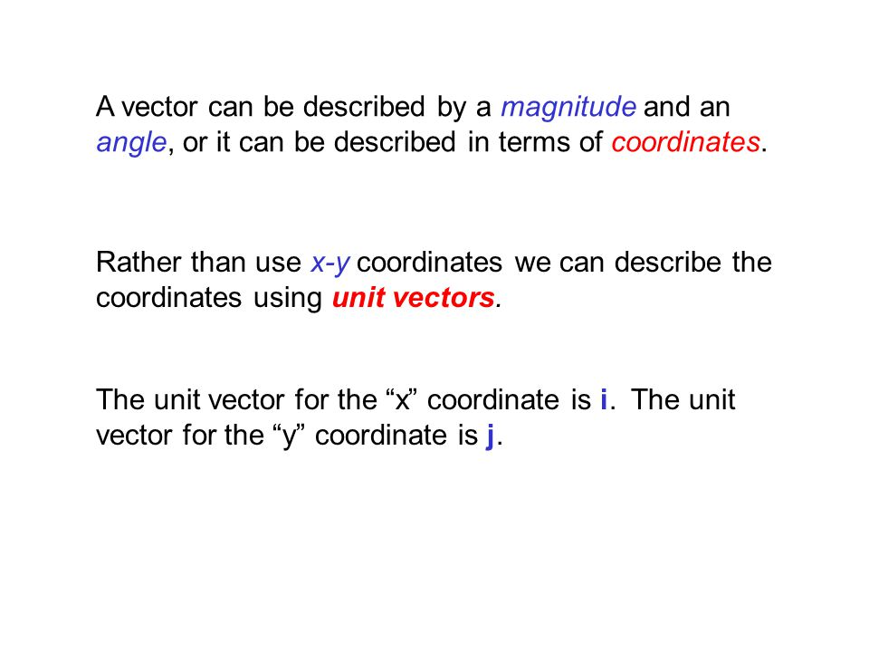 A vector can be described by a magnitude and an angle, or it can be described in terms of coordinates.