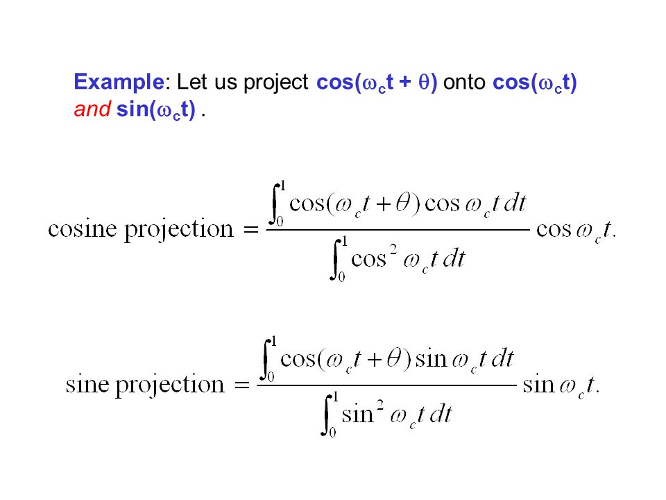 Example: Let us project cos(wct + q) onto cos(wct) and sin(wct) .