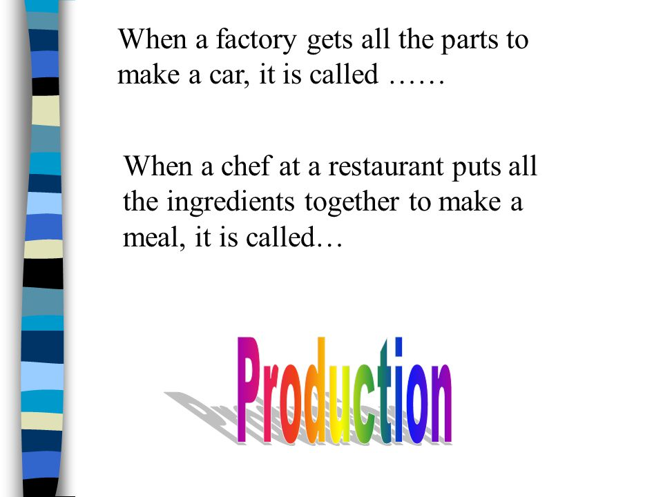 When a factory gets all the parts to make a car, it is called ……