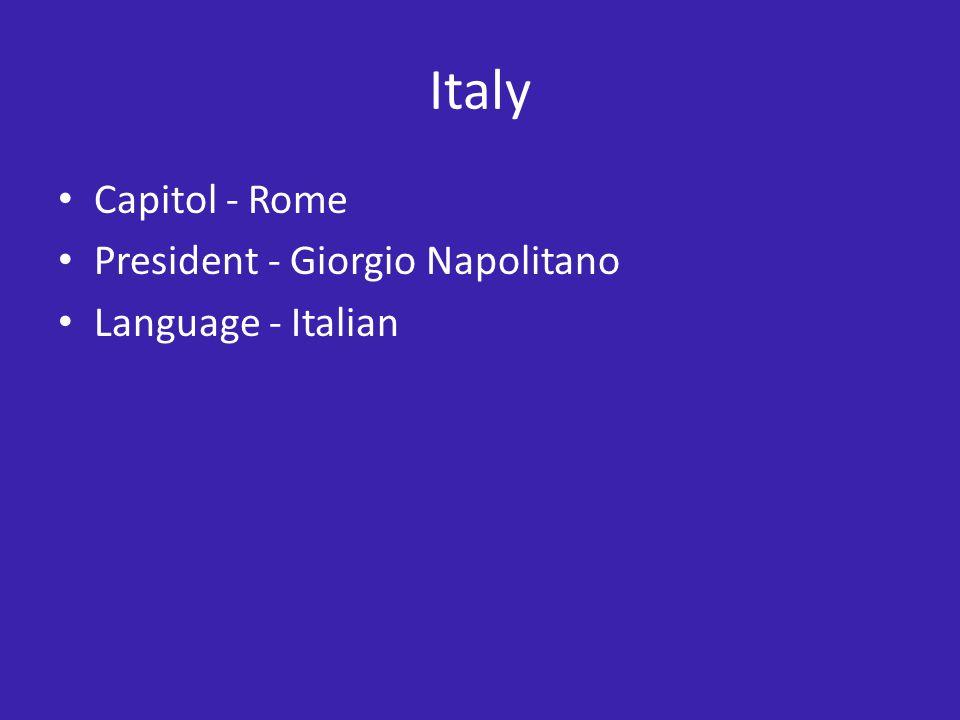 Italy Capitol - Rome President - Giorgio Napolitano Language - Italian