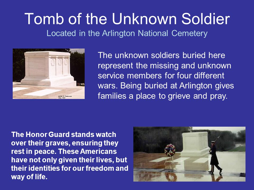 Tomb of the Unknown Soldier Located in the Arlington National Cemetery