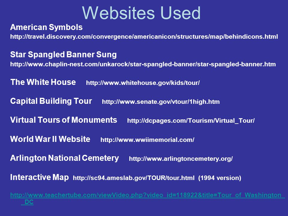 Websites Used American Symbols Star Spangled Banner Sung