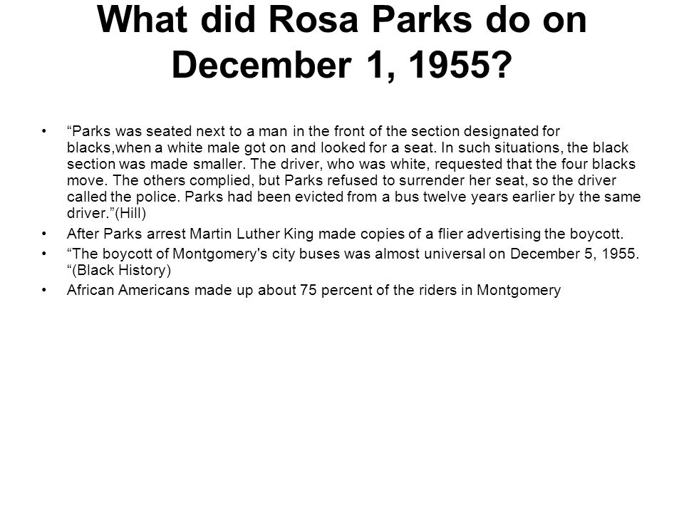 What did Rosa Parks do on December 1, 1955