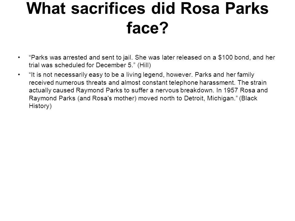 What sacrifices did Rosa Parks face