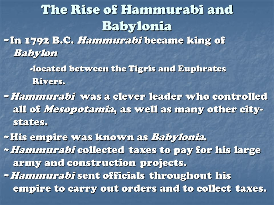 The Rise of Hammurabi and Babylonia