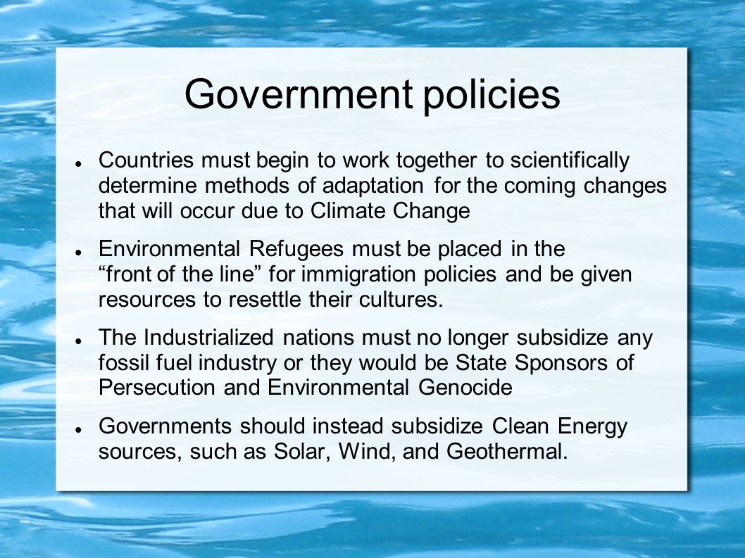 Government policies