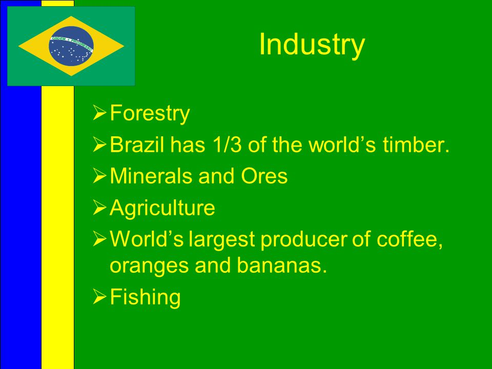 Industry Forestry Brazil has 1/3 of the world's timber.