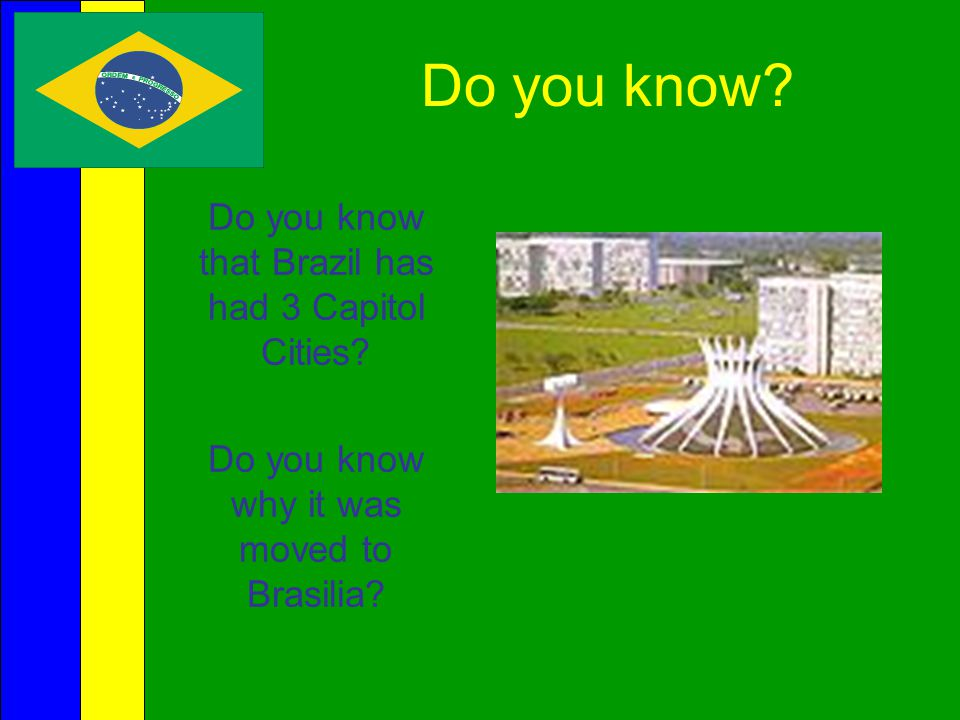 Do you know Do you know that Brazil has had 3 Capitol Cities
