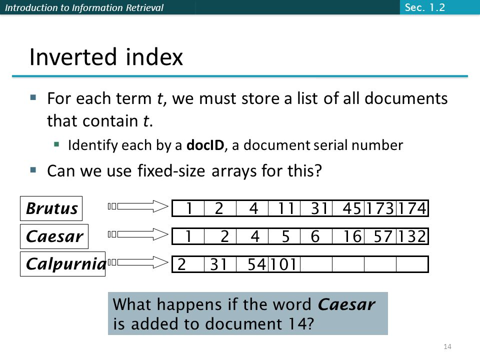 Sec. 1.2 Inverted index. For each term t, we must store a list of all documents that contain t. Identify each by a docID, a document serial number.