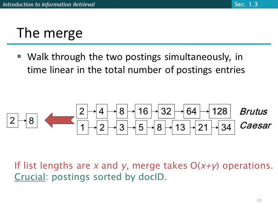 Sec. 1.3 The merge. Walk through the two postings simultaneously, in time linear in the total number of postings entries.