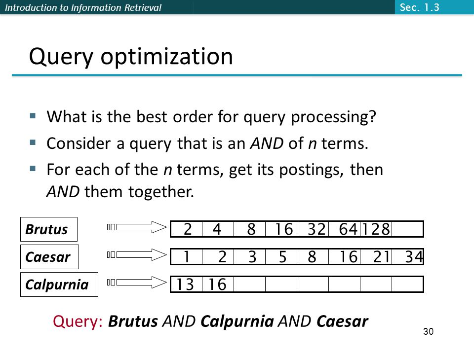 Query optimization What is the best order for query processing