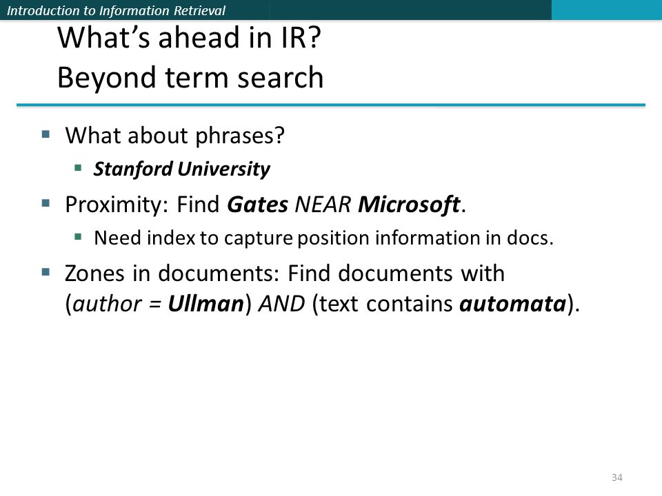 What's ahead in IR Beyond term search