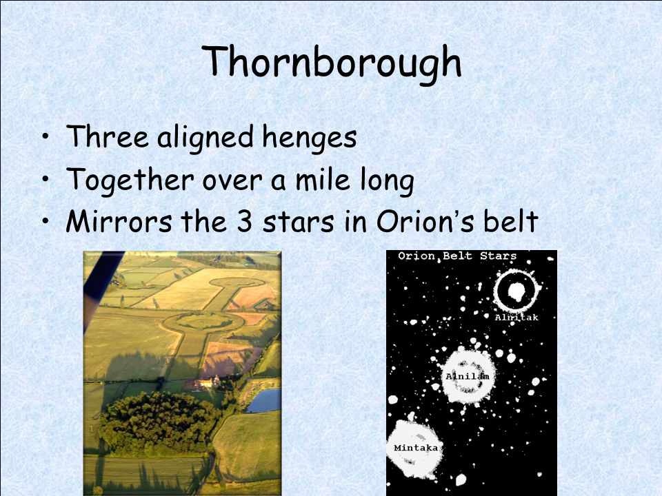 Thornborough Three aligned henges Together over a mile long