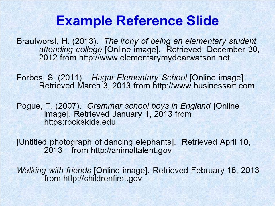 Example Reference Slide