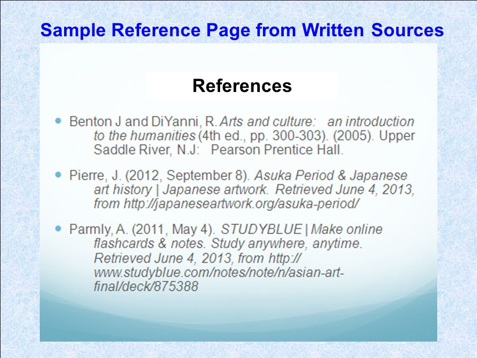 Sample Reference Page from Written Sources