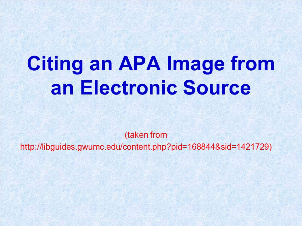 Citing an APA Image from an Electronic Source