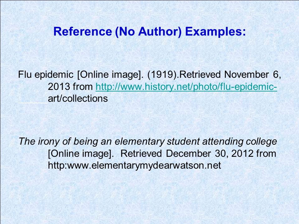 Reference (No Author) Examples: